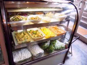 Side Dishes displayed in the Glass Showcase