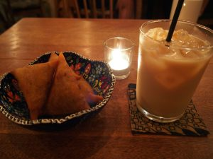 African Samosa and Organic Soy Milk Tea