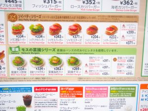 Menu of  in front  of the MOS Burger