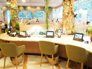 Table Seats and Artificial Trees made using scrap woods
