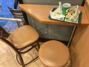 Seat at the corner of Subway